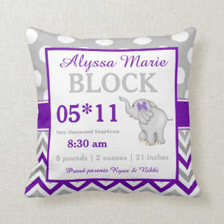 Purple Gray Elephant Baby Announcement Pillow