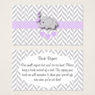 Purple Gray Elephant Baby Shower Book Request Business Card