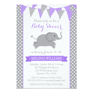 Purple Gray Elephant Polka Dot Bunting Baby Shower 5x7 Paper Invitation Card