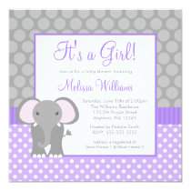 Purple Gray Elephant Polka Dot Girl Baby Shower Card