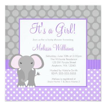 Toddler & Baby themed Purple Gray Elephant Polka Dot Girl Baby Shower Card