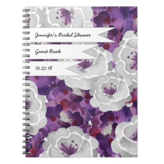 Purple Gray Floral Bridal shower guest book Notebook