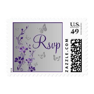 Purple Gray Floral Butterflies RSVP Postage
