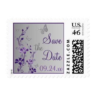 Purple, Gray Floral, Butterflies Save Date Stamp