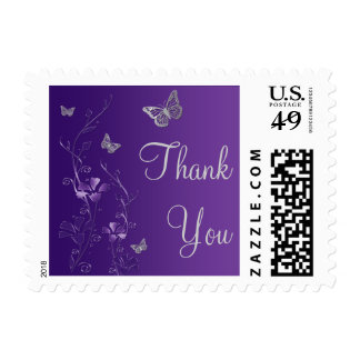 Purple Gray Floral Butterflies Thank You Postage