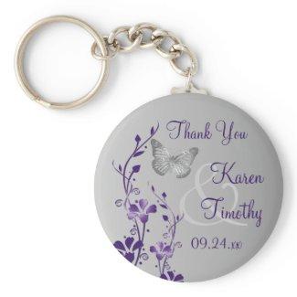 Purple, Gray Floral Butterflies Wedding Favor