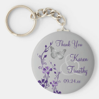 Purple, Gray Floral Butterflies Wedding Favor Keychain