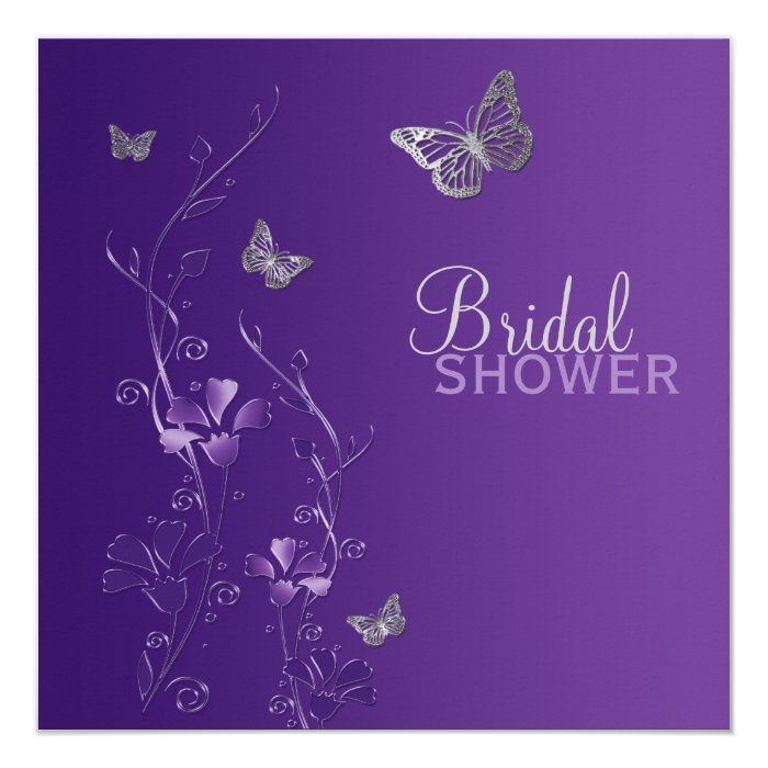 Purple Gray Floral Butterfly Bridal Shower Invite