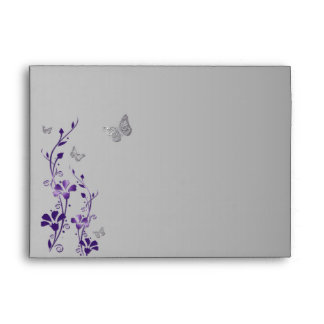 "Purple, Gray Floral Butterfly Envelope for 5""x7"""