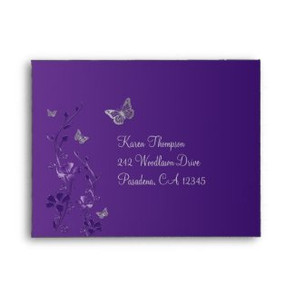 Purple, Gray Floral Butterfly Envelope for RSVP 2