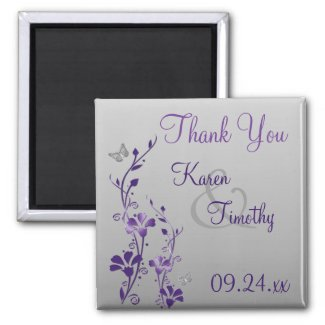 Purple Gray Floral Butterfly Wedding Favor Magnet