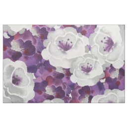 Purple Gray Floral Watercolor design fabric