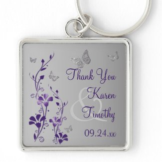 Purple, Gray Floral with Butterflies Keychain