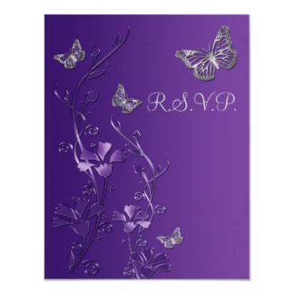 Purple, Gray Floral with Butterflies RSVP Card 2