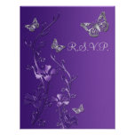 Purple, Gray Floral with Butterflies RSVP Card 2 Personalized Announcement