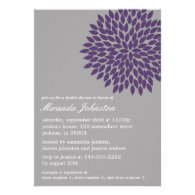 Purple & Gray Flower Bridal Shower Invitations