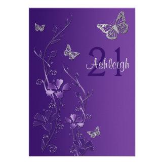 Purple Gray Flowers Butterflies 21st Invitation