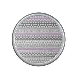 Purple Gray Geometric Aztec Tribal Print Pattern Bluetooth Speaker