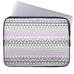 Purple Gray Geometric Aztec Tribal Print Pattern Laptop Sleeve