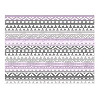 Purple Gray Geometric Aztec Tribal Print Pattern Postcard