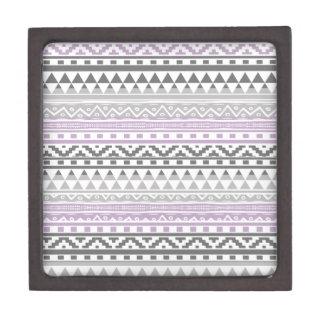 Purple Gray Geometric Aztec Tribal Print Pattern Premium Keepsake Boxes