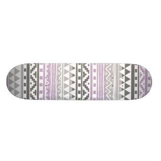 Purple Gray Geometric Aztec Tribal Print Pattern Skateboard Deck