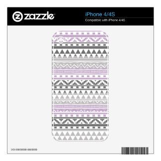 Purple Gray Geometric Aztec Tribal Print Pattern Skin For The iPhone 4