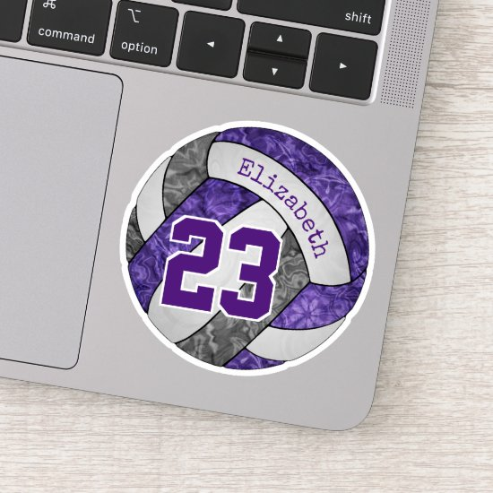 purple gray girls' volleyball player name number sticker