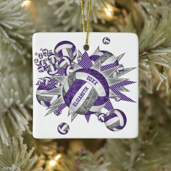 purple gray girly volleyball blowout sports ceramic ornament