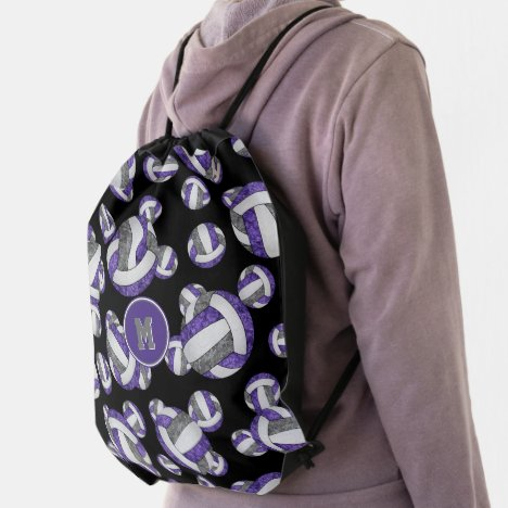 purple gray girly volleyball team colors drawstring bag