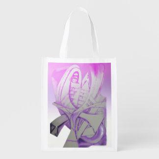 Purple & Gray Grocery Bag