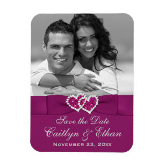 Purple, Gray Hearts Save the Date Photo Magnet