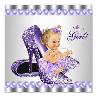 Purple Gray High Heel Shoe Baby Shower Card
