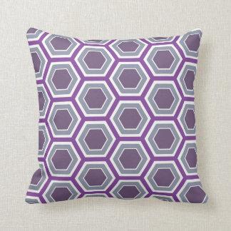 Purple & Gray Honeycomb Pillow