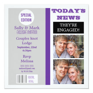 Purple gray magazine formal ENGAGEMENT Custom Invitations