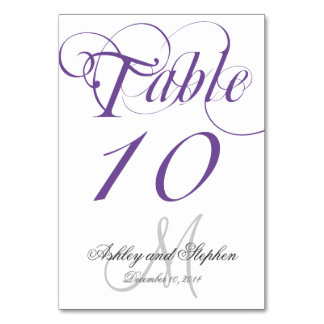 Purple Gray Monogram Wedding Table Number Card