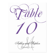 Purple Gray Monogram Wedding Table Number Card at Zazzle