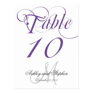 Purple Gray Monogram Wedding Table Number Card Postcard
