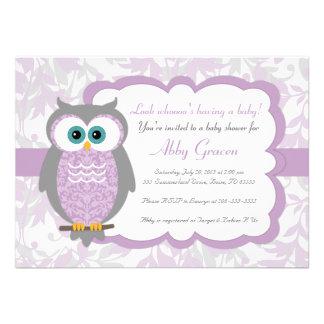 Purple Gray Owl Baby Shower Invitations - 730