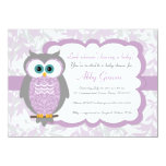 "Purple, Gray, Owl Baby Shower Invitations - 730 4.5"" X 6.25"" Invitation Card"