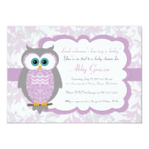 Purple, Gray, Owl Baby Shower Invitations - 730