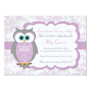 Purple Gray Owl Baby Shower Invitations 730