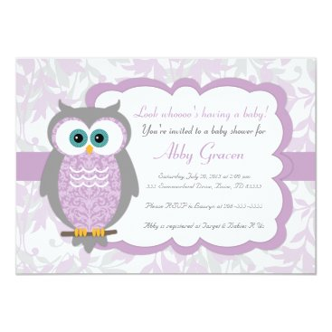 Toddler & Baby themed Purple, Gray, Owl Baby Shower Invitations - 730