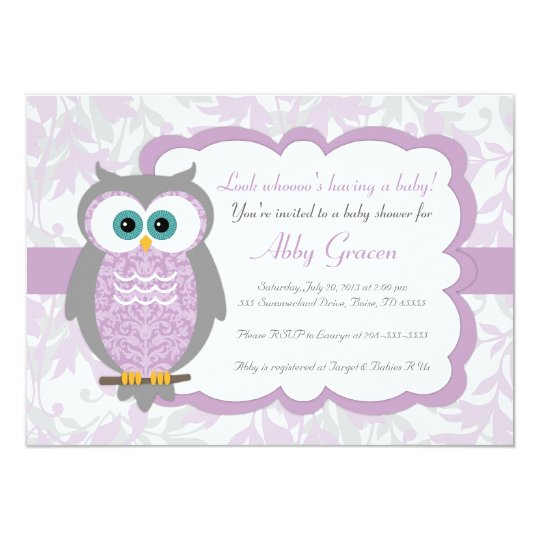 Purple Gray Owl Baby Shower Invitations 730 Zazzlecom