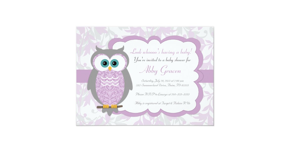 Purple, Gray, Owl Baby Shower Invitations - 730 | Zazzle.com