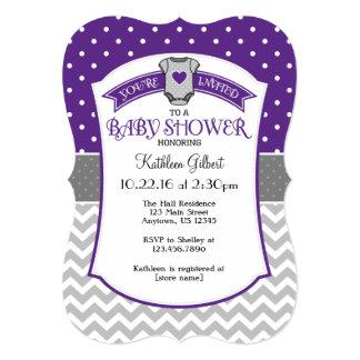 Purple Gray Polka Dot Chevron Baby Shower Invite