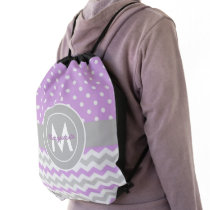 Purple Gray Polka Dot Chevron Drawstring Bag