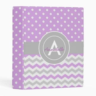 Purple Gray Polka Dot Chevron Mini Binder