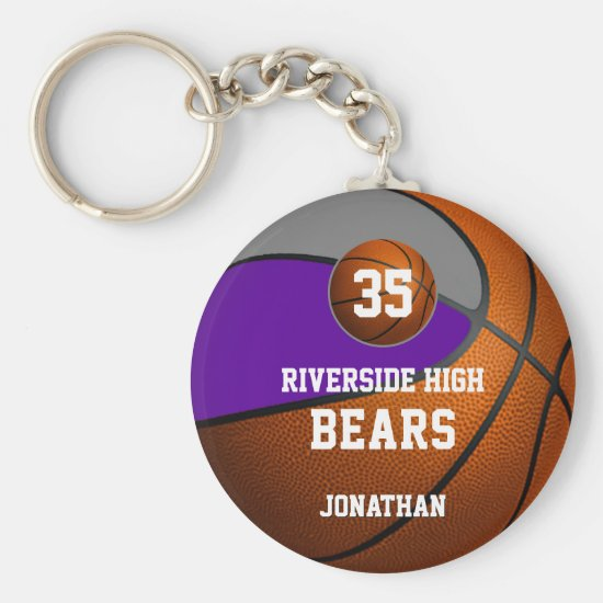 Purple gray school colors boys' basketball team keychain
