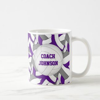 purple gray school colors volleyball coach gift coffee mug